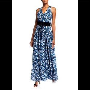 Mikael Aghal A-line long dress in feather pattern.